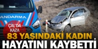 Çal#039;da devrilen otomobildeki yaşlı kadın hayatını kaybetti, oğlu yaralandı