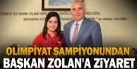 Başkan Osman Zolan olimpiyat şampiyonunu ağırladı