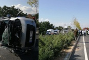 4 kişilik aile kazada yaralandı