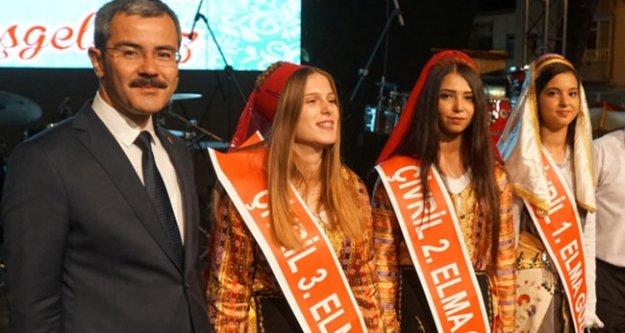 Elma festivalinde birbirinden ilginç yarışmalar düzenlendi