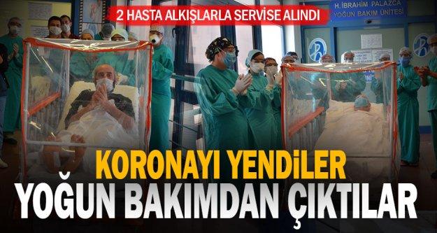 PAÜ'de iyileşen 2 korona hastası yoğun bakımdan alkışlarla çıktı