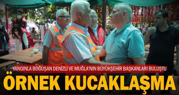Denizli Büyükşehir Belediye Başkanı Osman Zolan ile Muğla Büyükşehir Belediye Başkanı Osman Gürün'ün örnek buluşması