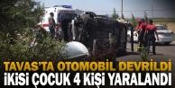 Tavas#039;ta otomobilin devrilmesi sonucu ikisi çocuk 4 kişi yaralandı